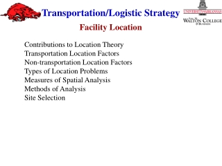 Contributions to Location Theory Transportation Location Factors Non-transportation Location Factors Types of Location P