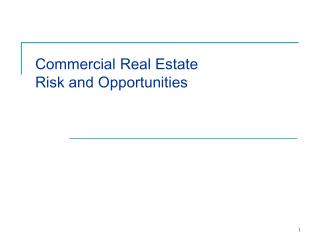 Commercial Real Estate Risk and Opportunities