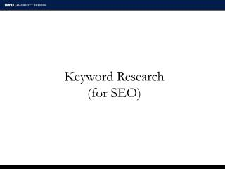 Keyword Research (for SEO)