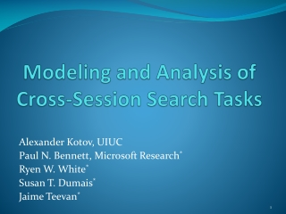 Modeling and Analysis of Cross-Session Search Tasks