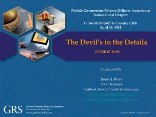 The Devil's in the Details (GASB 67 & 68)