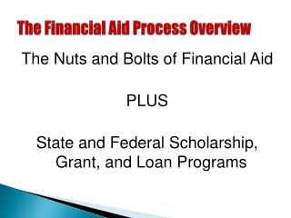 The Financial Aid Process Overview