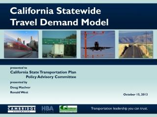 California Statewide Travel Demand Model