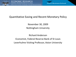 Quantitative Easing and Recent Monetary Policy