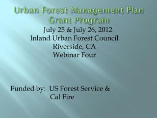 Urban Forest Management Plan Grant Program
