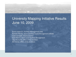 University Mapping Initiative Results June 10, 2009 Garth Anderson, Facilities Management (FM) Nicholas Bartley, Space