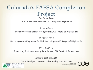 Colorado's FAFSA Completion Project