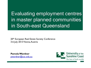 Evaluating employment  centres in master planned communities in South-east Queensland