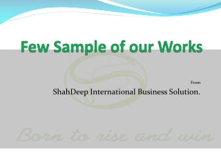 Few Sample of our Works