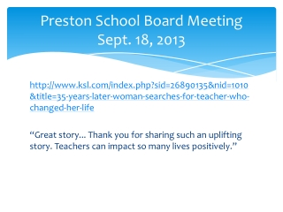 Preston School Board Meeting Sept. 18, 2013