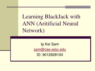 Learning BlackJack with ANN (Aritificial Neural Network)