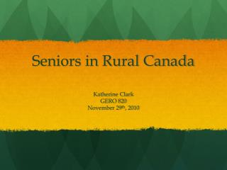 Seniors in Rural Canada