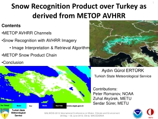 Snow Recognition Product over Turkey as derived from METOP AVHRR