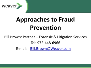 Approaches to Fraud Prevention