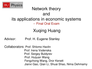 Network theory and its applications in economic systems -- Final Oral Exam
