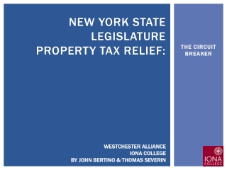New York state legislature Property TAX relief: