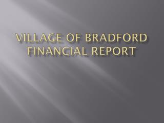 Village of Bradford Financial Report