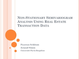 Non-Stationary Semivariogram Analysis Using Real Estate Transaction Data