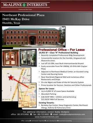 "24,955 SF – Class ""A"" Professional Building Recently completed Professional Bldg Development"