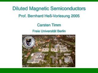 diluted magnetic semiconductors prof. bernhard he -vorlesung 2005 carsten timm freie universit t berlin