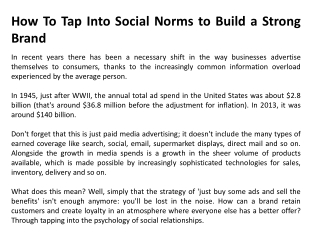 How To Tap Into Social Norms to Build a Strong Brand