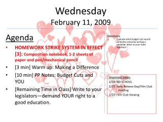 Wednesday February 11, 2009