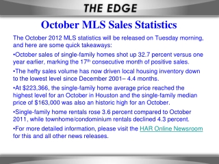 October MLS Sales Statistics