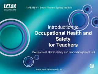 Introduction to  Occupational Health and Safety  for Teachers