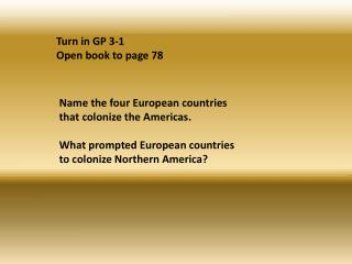 Turn in GP 3-1 Open book to page 78