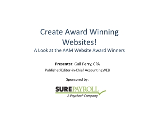 Create Award Winning Websites! A Look at the AAM Website Award Winners