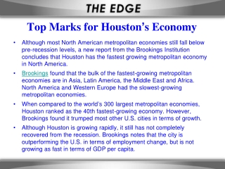 Top Marks for Houston ' s Economy