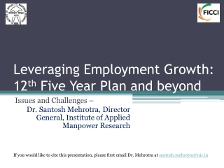 Leveraging Employment Growth: 12 th  Five Year Plan and beyond