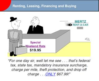 Renting, Leasing, Financing and Buying