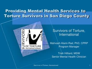 Providing Mental Health Services to Torture Survivors in San Diego County