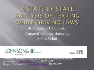 A State by State Analysis of Texting While Driving Laws