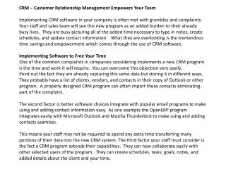 crm - customer relationship management empowers your team