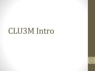 CLU3M Intro