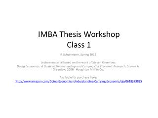 IMBA Thesis Workshop Class 1