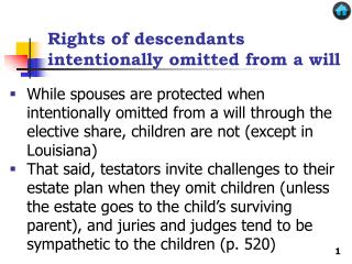 Rights of descendants intentionally omitted from a will