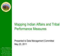 Mapping Indian Affairs and Tribal Performance Measures