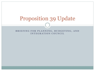Proposition 39 Update