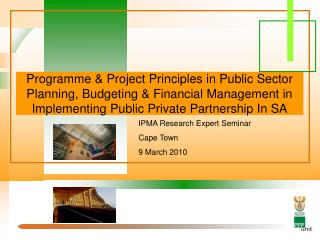 Programme & Project Principles in Public Sector Planning, Budgeting & Financial Management in Implementing Publi