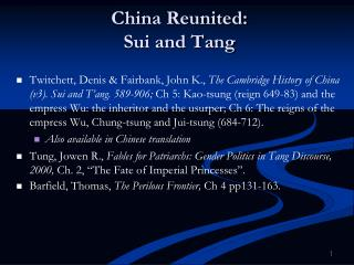 China Reunited: Sui and Tang