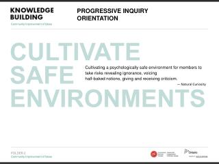 CULTIVATE  SAFE ENVIRONMENTS