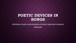 Poetic Devices in Songs