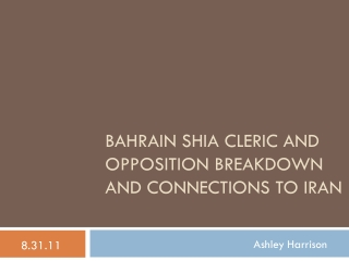 Bahrain Shia Cleric and Opposition Breakdown and connections to Iran