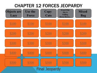 Chapter 12 Forces Jeopardy