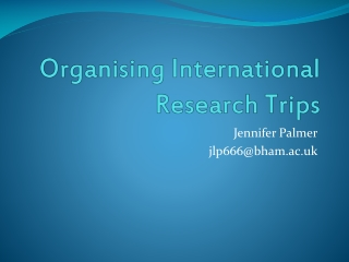 Organising International Research Trips
