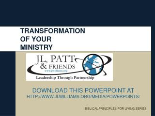 TRANSFORMATION  OF YOUR  MINISTRY