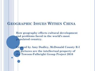 Geographic Issues Within China